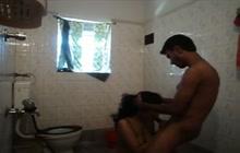 Indi girl sucks cock in the bathroom