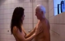 Sexy brunette girl fucks with old man