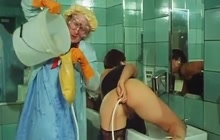 Vintage enema in the bathroom