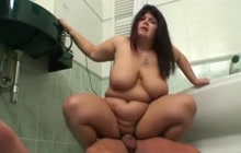 BBW riding cock in bathroom